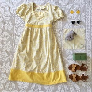 Vintage Maternity yellow floral puff sleeve dress